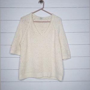 Madewell Chucky Knit Ivory V-neck Sweater Size L